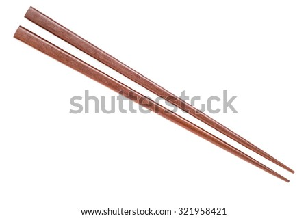Wooden chopsticks on white background. - stock photo