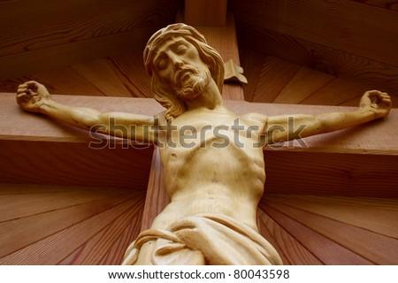 Wooden Christ on cross - stock photo