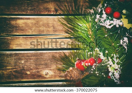 Wooden Christmas and New Year Background With Copyspace - stock photo