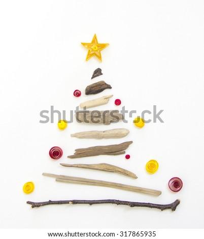 wooden christmas tree - stock photo