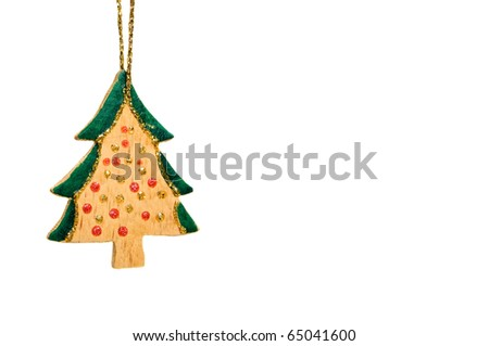 Wooden christmas tree decoration isolated on white background - stock photo