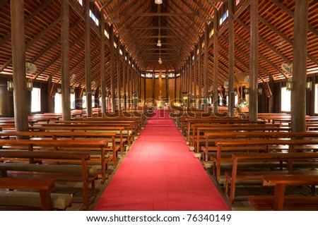 wooden church at Yasothon province Thailand