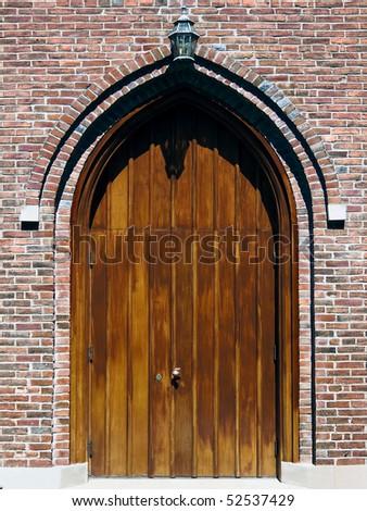Wooden Church Door - stock photo