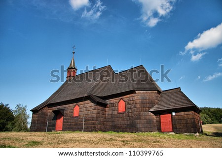 Wooden church of St. Anthony, Beskydy mountains, Czech republic - stock photo