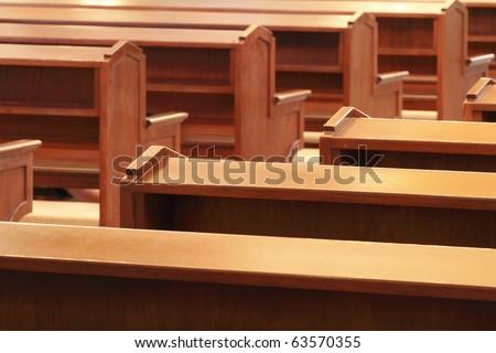 wooden church pews in church - Church Pew