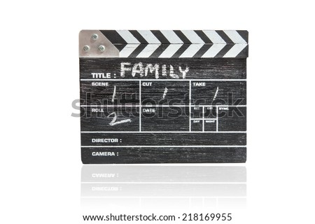 wooden clapper board on white background Title Family