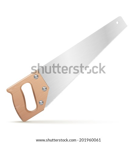 Wooden classic handsaw isolated on white background. Raster copy - stock photo