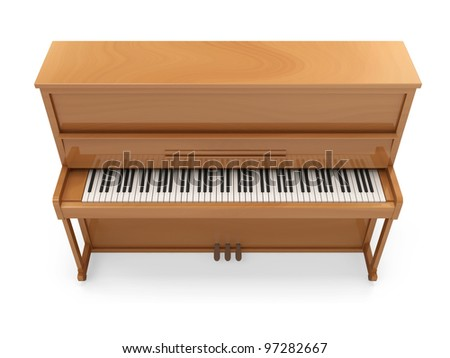 Wooden Classic Piano isolated on white background - stock photo