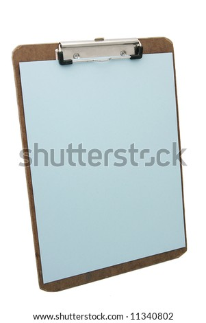 wooden clipboard and blue blank paper - stock photo