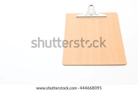 Wooden clipboard on white background