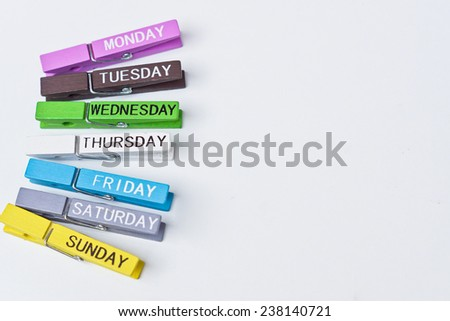 wooden clips with seven days in a week - stock photo