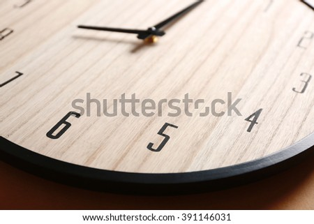 Wooden clock face closeup - stock photo