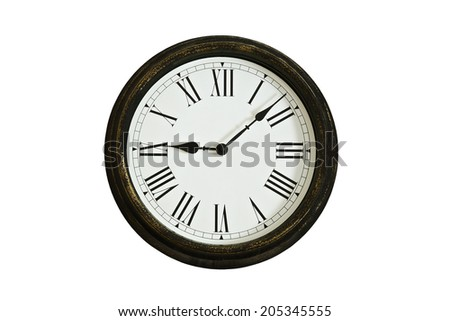 Wooden clock face with roman numerals - stock photo