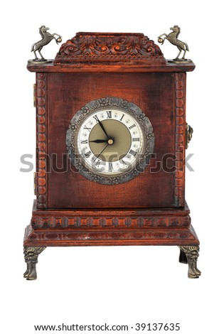 Wooden clock isolated on white background, with clipping path