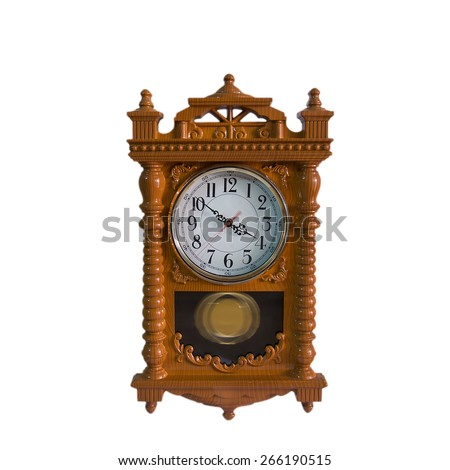 Wooden clock on a white background. - stock photo