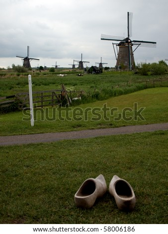 Wooden clogs and the windmills, Kinderdijk, Netherlands.