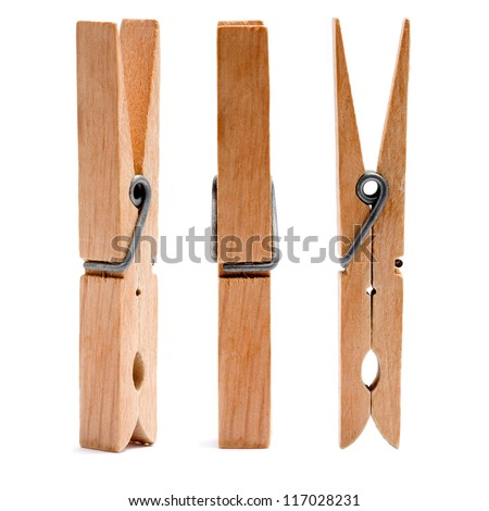 wooden cloth pegs - stock photo