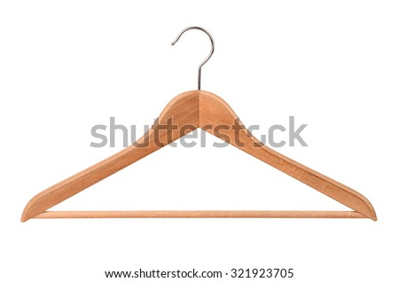 Wooden clothes hanger isolated on white - stock photo