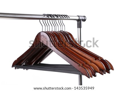 wooden clothes hangers on a white background