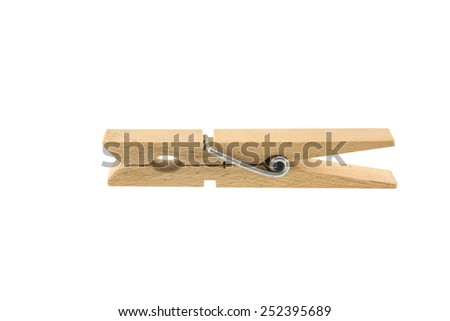 wooden clothespin on the white background.