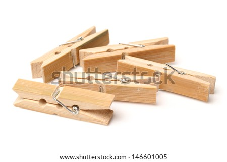 Wooden Clothespin on white background  - stock photo