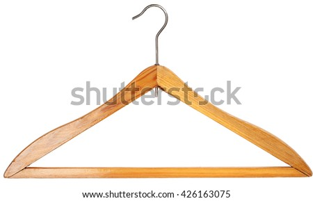 Wooden clothing hanger isolated over white background
