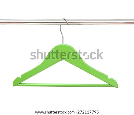 Wooden coat clothes hanger isolated on a white background - stock photo