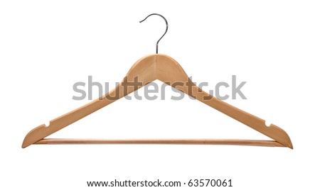 Wooden coat hanger isolated on a white background. - stock photo