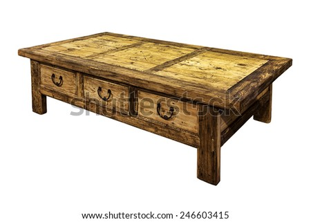 Wooden coffee table isolated on white. - stock photo