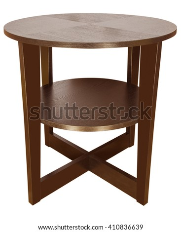 Wooden coffee table isolated on white background. Clipping Path included. - stock photo