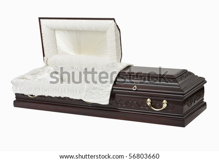 Wooden coffin, studio shot, isolated with clipping path. - stock photo