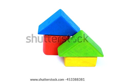 wooden color blocks build in image of house