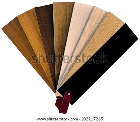 Wooden Color Swatch Fan Isolated with Clipping Paths - stock photo