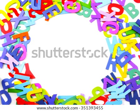 wooden colored alphabet letters abc on a white background with space copy