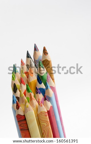 Wooden colored pencils different shades tipped