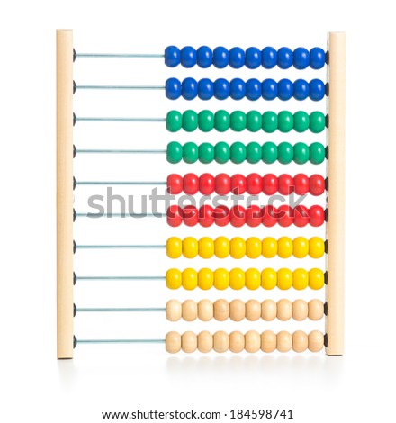 Wooden colorful abacus kids toy isolated on white