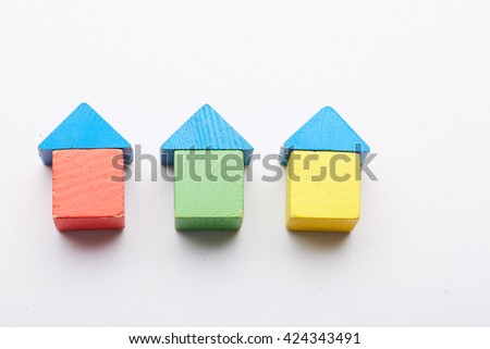 Wooden colorful cubes - stock photo