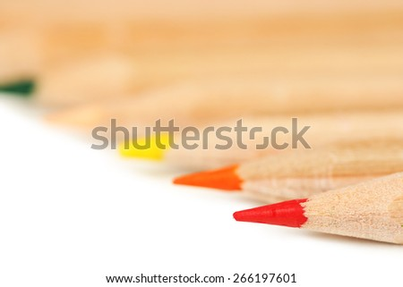 Wooden colorful pencils, isolated on white - stock photo