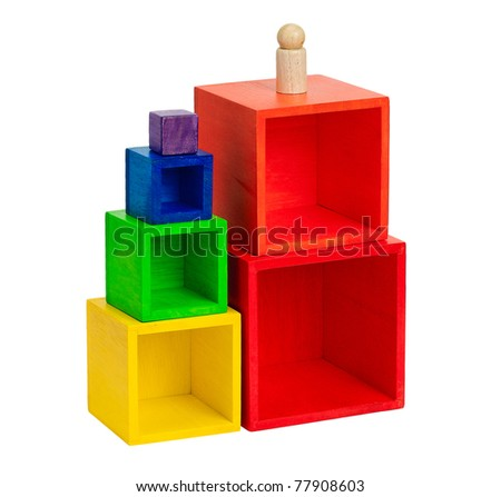 Wooden colorful toy blocks children enjoy to build and creates themselves to be a tower - stock photo
