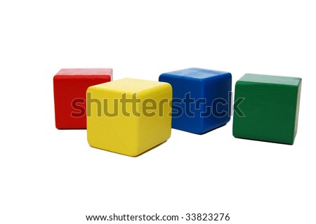 wooden colourful childrens blocks isolated white - stock photo