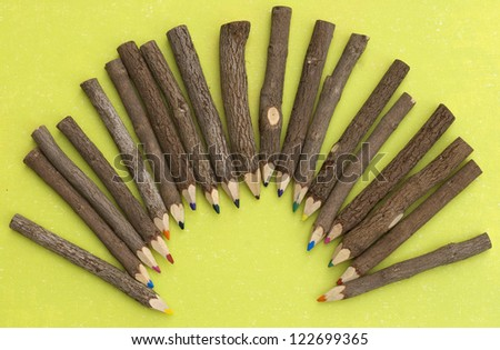 Wooden colourful pencils - stock photo