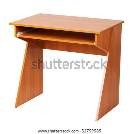 Wooden computer table isolated on white, with clipping path