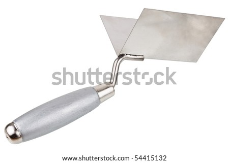 Wooden construction trowel for corners isolated on white background - stock photo