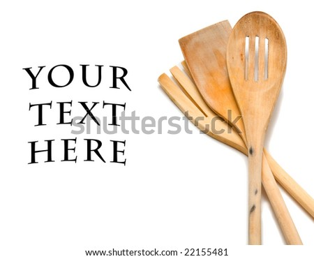 wooden cooking utensils isolated over white background - stock photo