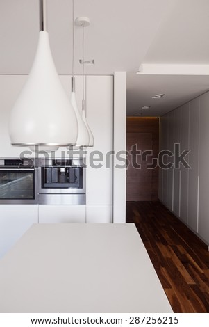 Wooden corridor leading to white modern kitchen - stock photo