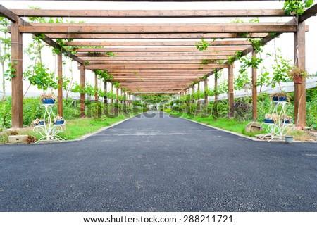 wooden corridor outdoor - stock photo