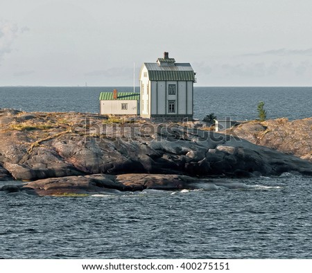 Wooden cottage on the island in the archipelago of the Aland Islands, Finland - stock photo