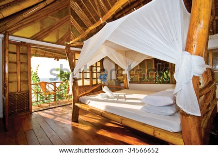 Wooden Cottage with Perfect Tropical Seaview - stock photo