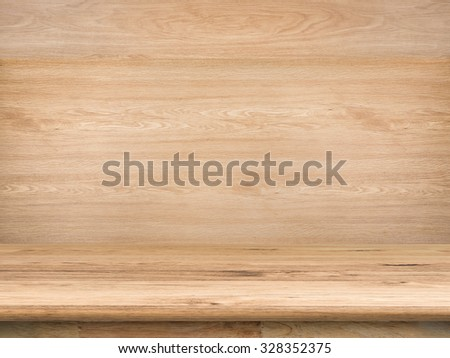 wooden counter top with wooden background - stock photo