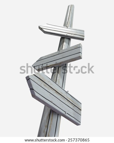 Wooden countryside signpost with blank faces - stock photo
